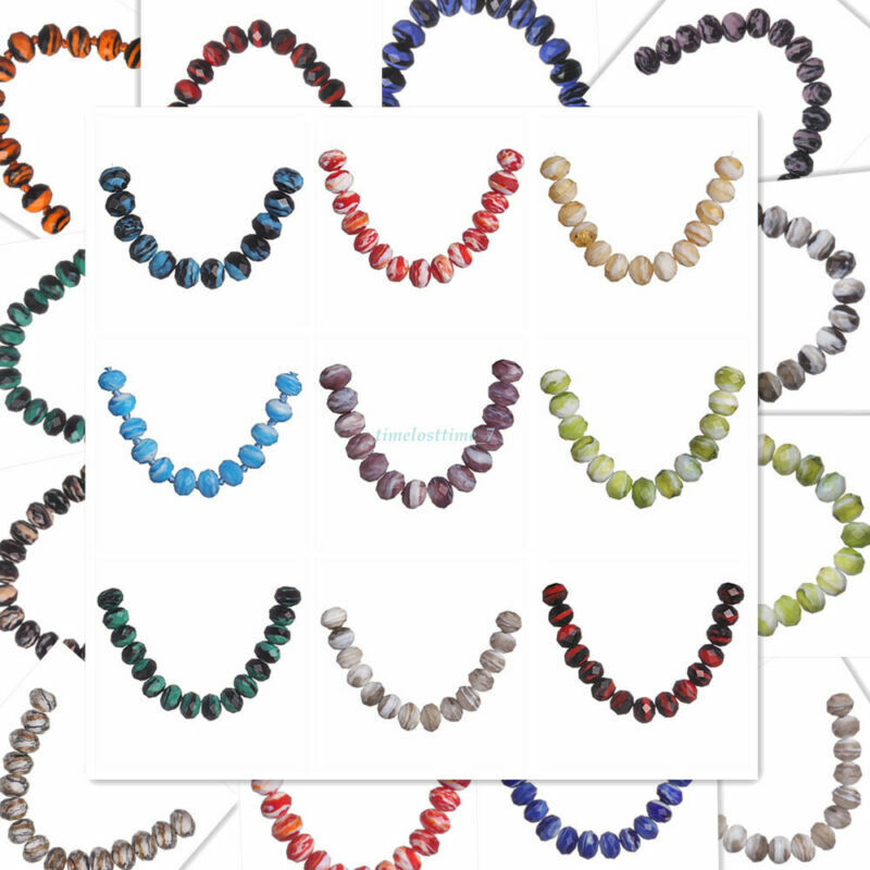 8 10 12mm Stripe Faceted Glass Beads Rondelle Spacer Craft Making Finding 10pcs#
