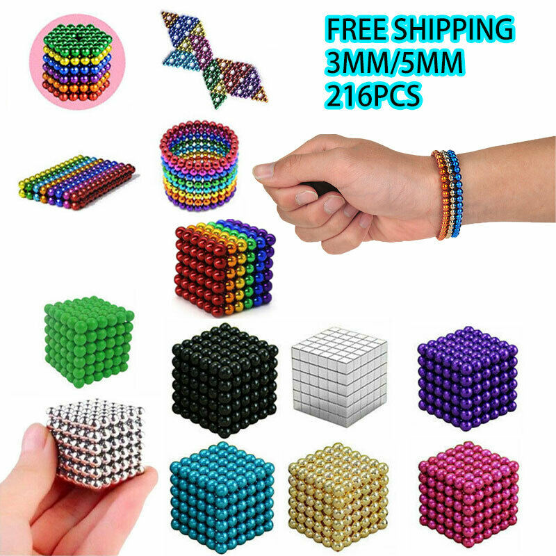 3MM/5MM Puzzle Magnets Magic Balls Silver/6 Colors Beads Sphere Magnetic Toys LK