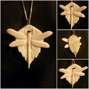 Dragonfly Pendant made of naturally shed moose antler