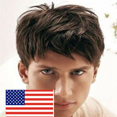 Handsome Fashion Short Men's Wig Natural Straight Dark Synthetic Brown Full Wigs (Mens Brown Wig)