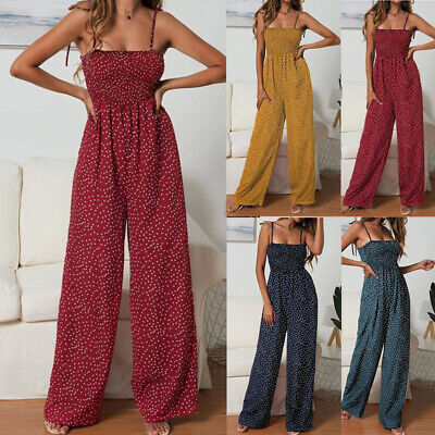 Womens Strappy Holiday Playsuit Romper Ladies Jumpsuit Summer Beach Polka Dot