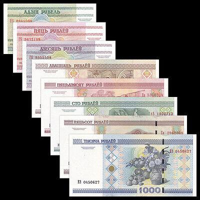 Belarus 8 PCS Banknotes Set (1+5+10+20+50+100+500+1000 Rublei), UNC