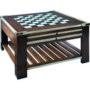 Gorgeous Wood Game Table with Brass Accents by Authentic Models