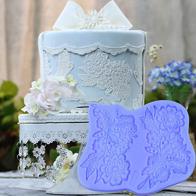 Flower Lace Bouquet Silicone Fondant Mould Cake Decor Icing Sugarcraft Mold Mat