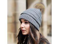 DAYMISFURRY--Dark Grey Knit Beanie Hat With Finn Raccoon Pom Pom