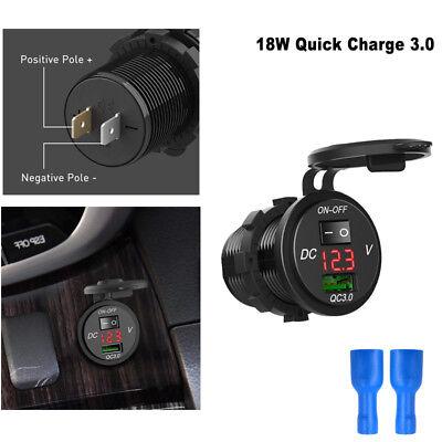 12V/24V Auto Steckdose USB Ladegerät Adapter KFZ Einbau mit Schalter LED NEU