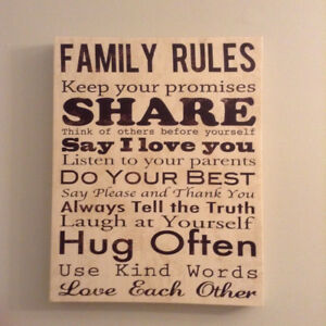 "Canvas Wall Art Family Rules  19""x 15""x 1.5"""