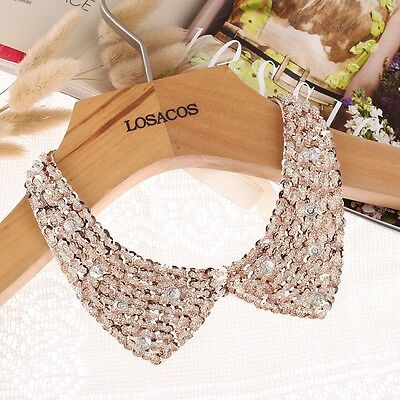 Vintage Gold Sequin beads knitted cloth Ribbon Fake collar Choker Necklaces](Ribbon Necklaces)