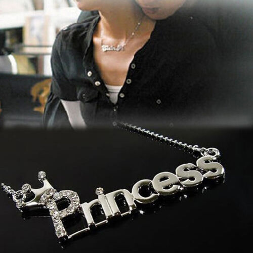 New Letters 'Princess' With Crown Clavicle Chain Charm Pendant Necklace Jewelry