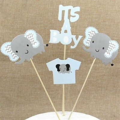 Boy Baby Shower Gray and Blue Elephant Cake Cupcake Flag Decor For Birthday