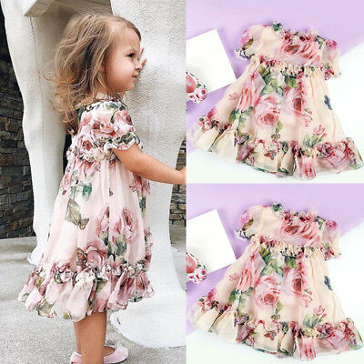 Toddlers Tutu Dress (Chiffon Toddler Kid Baby Girl Princess Flowers Party Tutu Tulle Dress Clothes)
