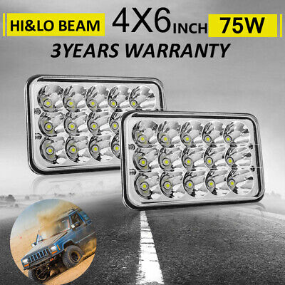 """4x6"""" Square LED Headlights Headlamps For Chevrolet S10 1997 1996 1995 R10 1987"""