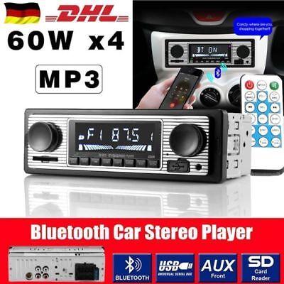 4*60W 1-DIN Retro AUX/USB/SD/MMC/MP3 Oldtimer Autoradio Bluetooth Auto stereo W1 Stereo