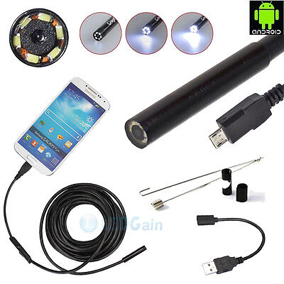 2M 7mm Android Endoscope Waterproof Borescope Inspection Camera 6LED New US Ship