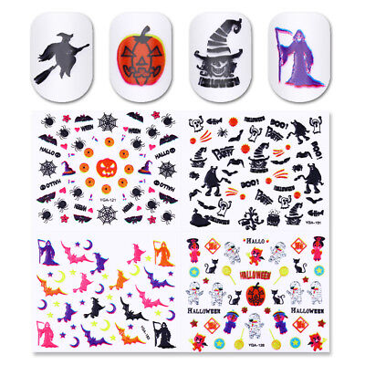 24 Sheets Halloween 3D Nail Art Stickers Manicure Adhesive Transfer Decals - Halloween Nail Decorations