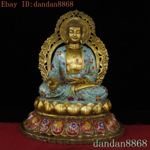 "19""Tibet Buddhism bronze Cloisonne Shakyamuni Sakyamuni Medicine Buddha statue"