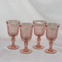 ROASLINE PINK GLASS GOBLETS GLASSES SWIRL LUMINARC FRANCE