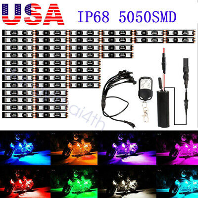 12Pcs Motorcycle RGB LED Neon Under Glow Lights Strip Kit For Harley Honda US