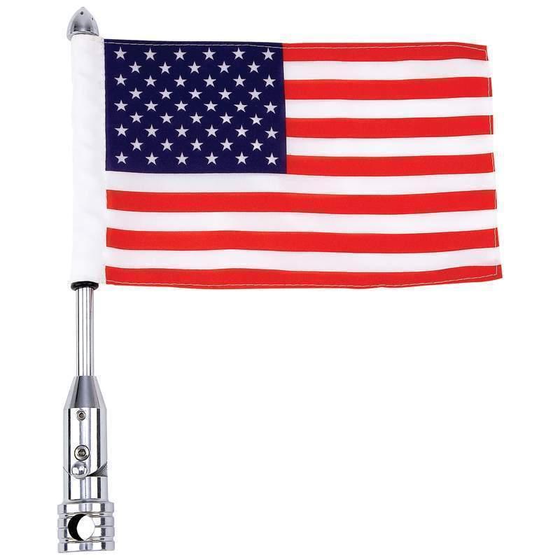 """US FLAG w/ 13"""" POLE MOUNT Deluxe American Motorcycle Bike Universal Luggage USA"""