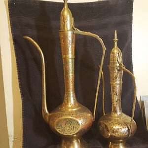 RARE AND OLD MIDDLE EASTERN BRASS TEA POTS
