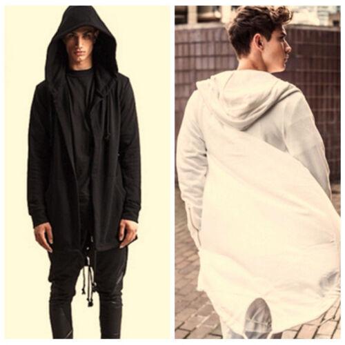 EFL Men/'s Long Line Hoodie Pullover Fleece w// Side Zipper Hip-hop Hooded Sweater