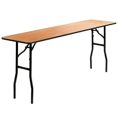 18x 72 Wood Folding Training Seminar Table W Smooth Clear Coated Finish
