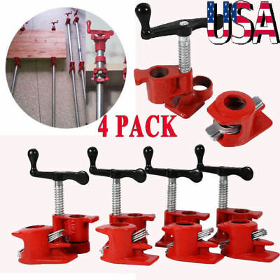 4 Pack 12 Wood Gluing Pipe Clamp Set Heavy Duty Pro Woodworking Cast Iron
