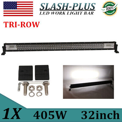 32INCH 405W COMBO 7D TRI-ROW LED LIGHT BAR DRIVING OFFROAD SPOT/&FLOOD PK 30//34/""