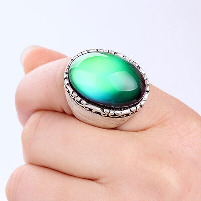 Selling Antique Engraved Silver Jewelry Big Oval Stone Ring Vintage Mood Rings Mood Stone Rings