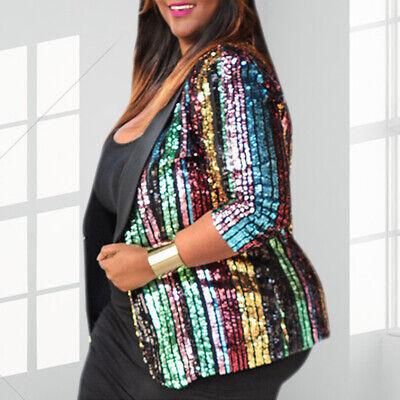 Plus Size Women Sequins Rainbow Stripes Coat Cropped Jacket 3/4 Sleeve Outwear 3/4 Sleeve Crop Jacket