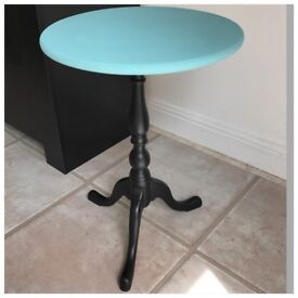 Side Table Telephone Table Upcycled in Black & Turquoise
