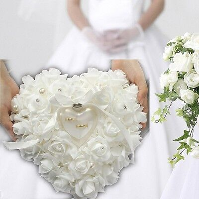 Wedding Favors Rose Heart Shaped Design Ring Box Pillow Cushion Case Holder Gift