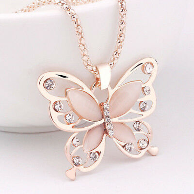 Strass Kristall Anhänger (Damen Kristall Strass Schmetterling Anhänger Kette Schmuck Halskette Rose Gold)