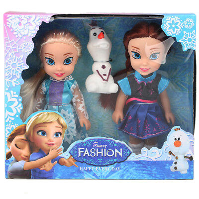 Disney Frozen Princess Elsa Anna Doll Ice and Snow Dolls Model Toys for Girls.
