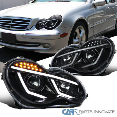 01-07 Mercedes Benz W203 C-Class Pearl Black Projector Headlights w/ LED Signal