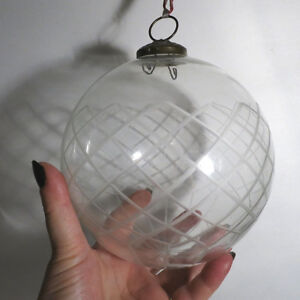 """Vintage CHRISTMAS Glass Etched Ornament Ball Clear Glass 18"""""""