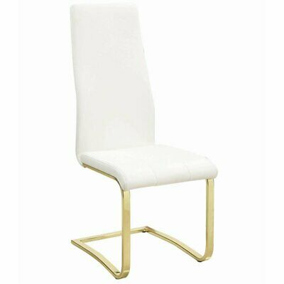 Coaster Chanel Upholstered Dining Side Chair in White and Go