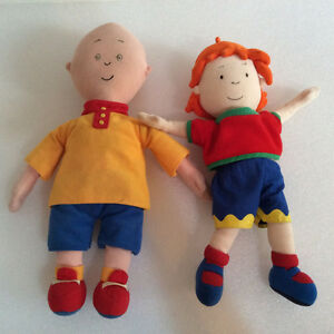 """RARE 14"""" CAILLOU 13"""" ROSIE PLUSH DOLLS FROM TREEHOUSE PBS"""