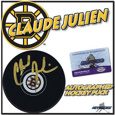 Claude Julien Signed Boston Bruins Hockey Puck W Coa  New   2