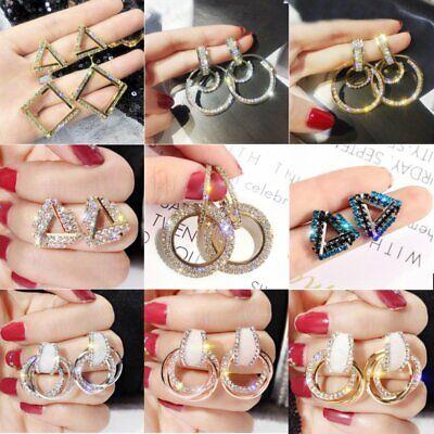 Wedding Luxury Round Earrings Women Crystal Geometric Hoop Earrings Jewelry Gift