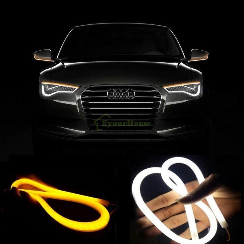 2pc 60cmleddrl 2pcs 60cm car flexible tube led strip drl light switchback headlight white amber mozeypictures Images