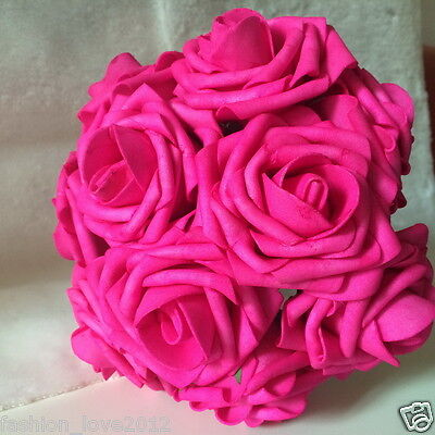 (Hot Pink Roses Fake Flowers 8in Artificial Rose 100 Stems Wedding Bouquet Decor)