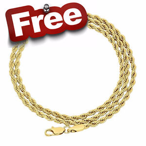"""FREE NEW 20"""" 3mm GOLD ROPE CHAIN Necklace"""