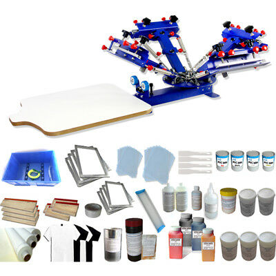 4 Color 1 Station Screen Printing Starter Kit Shirt Press Machine With Ink Tools