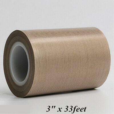 New 3x 33feet High Temp Ptfe Teflon Adhesive Tape 180um Thicker Fiberglass Tape