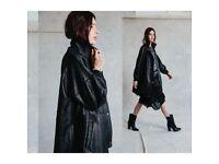 Womens RELIGION ADORE Vegan Coat oversized jacket all Black S 10 saints M 8 12 all saints