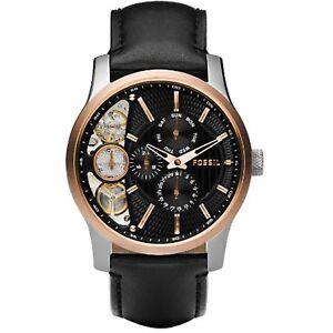 Fossil-Men-039-s-Mechanical-Twist-ME1099-Black-Leather-Quartz-Dress-Watch