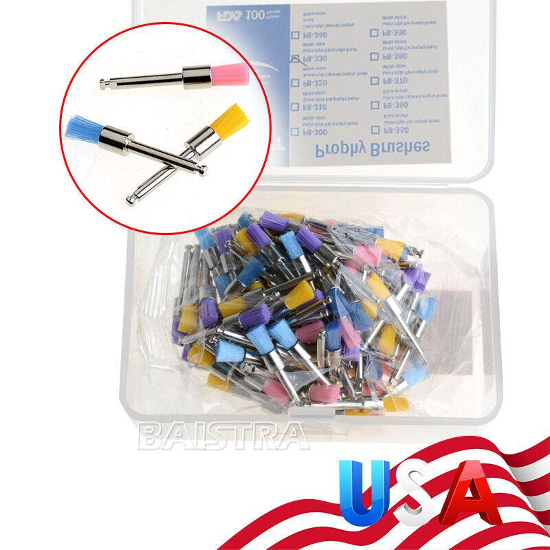 100pcs Dental Colorful Nylon Bowl Polishing Polisher Prophy Brushes Flat Type