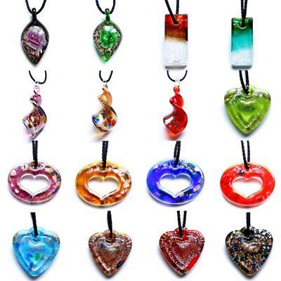 Women Glass Flower Heart Teardrop Long Pendant Necklace Chain Fashion Jewelry (Teardrop Glass Flower Pendant)