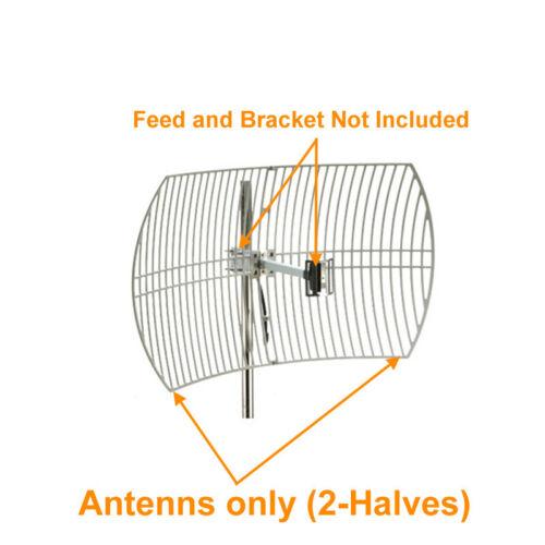 2-Halves Parabolic Grid Antenna Replacement 2.4GHz/5GHz 24dBi WiFi Antenna